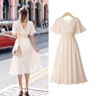 plus size dress white bandage elegant midi pink chiffon black office summer ruffle big vestiti donna v neck tallas grandes mujer