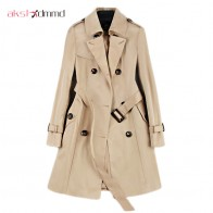 US $35.28 50% OFF|2019 New Fashion Double Breasted Mid long Trench Coat Women Khaki Slim Belt Cloak Mujer Windbreaker Female Abrigos Brazil LH810-in Trench from Women