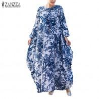 1376.88 руб. 30% СКИДКА|L 5XL плюс размеры 2018 ZANZEA для женщин цветочный принт с длинным рукавом повседневное свободные кафтан Ретро Блузки для малышек круглый купить на AliExpress