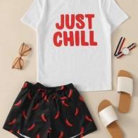 Комплект пижамы на кулиске и надпись