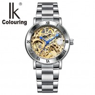 US $28.07 46% OFF|Relogio Feminino Ladies Automatic Skeleton Watches Women Gold Tone Mechanical Watches Famous Top Brand IK Colouring Watches-in Women