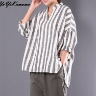 US $10.95 45% OFF|YoYiKamomo Cotton Striped Women Shirt 2018 New Big Size V neck long sleeve Blouse Korean Fashion Loose Tops-in Blouses & Shirts from Women