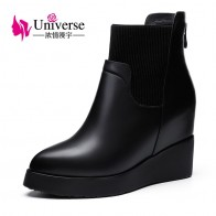 US $66.88 48% OFF|Universe Wedge Heel Genuine Leather Ankle Boots Warm Short Plush Insole Solid Rubber Black Winter Boots Women Shoes C198-in Ankle Boots from Shoes on Aliexpress.com | Alibaba Group