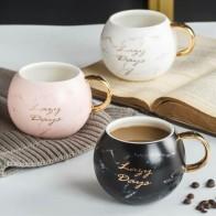 Кофейная кружка с золотым принтом, 530 мл, женская и Мужская мраморная керамическая кофейная кружка, чашка для молочных напитков, новинка, под... - Кружки ☕