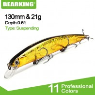 BEARKING for artificial Fishing lures minnow quality wobblers baits 13cm 21g suspending hot model crankbaits popper - РЫБАЛКА