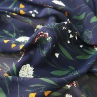 436.85 руб. 11% СКИДКА|Глубокий темно синий элегантный цветочный текстиль платье ткань шифон купить на AliExpress