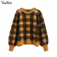 Vadim women retro plaid knitted sweaters checkered long sleeve O neck stretchy pullovers female warm sweet tops HA613