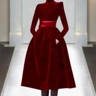 3213.27руб. 28% СКИДКА|2019 Новинка весна осень потрясающее женское однотонное платье со стоячим воротником черного и красного цвета размера плюс бархатное бальное платье принцессы милое платье-in Платья from Женская одежда on AliExpress - 11.11_Double 11_Singles