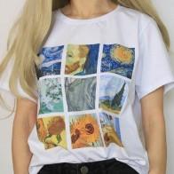 227.65 руб. 13% СКИДКА|Новые милые топы с масляной росписью Ван Гог, большие размеры, повседневные женские летние футболки с короткими рукавами в стиле Харадзюку, BF Harajuku-in Футболки from Женская одежда on Aliexpress.com | Alibaba Group
