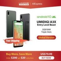 UMIDIGI A3X смартфон с 5,7-дюймовым дисплеем, ОЗУ 3 ГБ, Android 10, 13 МП