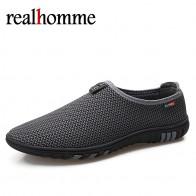 RealHomme Новая модная летняя обувь Мужчины air обувь из сетчатого материала больших размеров 36 46 легкая дышащая скольжения на плоской подошве chaussure homme купить на AliExpress
