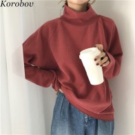 US $12.53 31% OFF|Korobov 2019 New Turtleneck Long Sleeve Women Sweater Solid Sueter Mujer Loose Casual Sweaters Korean Female Pullovers 75642-in Pullovers from Women