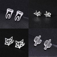 Lemegeton Stainless Steel Small Earrings Tooth Cactus Aircraft Wolf Fox Earrings for Women Kids Doctor Earrings Medical Jewelry