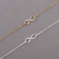 54.97 руб. 57% СКИДКА|Shuangshuo 2017 New Fashion Infinity Bracelet for Women with Crystal Stones Bracelet Infinity Number 8 Chain Bracelets bileklik купить на AliExpress