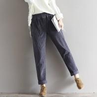 618.13 руб. 40% СКИДКА|Плюс размер осенние женские брюки зимние винтажные повседневные свободные однотонные брюки утолщенные эластичные талии плиссированные вельветовые брюки купить на AliExpress