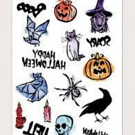 1sheet Halloween Pattern Tattoo Sticker - Accessories