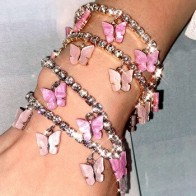 Корейская мода бабочка кулон браслет для женщин Золотой Серебристый блестящий цвет стразы браслет новый дизайн ювелирные изделия вечерние...
