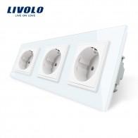 1229.62 руб. 22% СКИДКА|Livolo Новый ЕС стандартный мощность разъем, Outlet панель, тройной настенный, мощность без вилки, закаленное стекло C7C3EU 11/2/3/5 купить на AliExpress