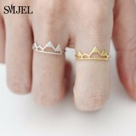 SMJEL New Tiny Snow Mountain Ring Open Cuff Rings For Women Birthday gifts Size 6.5 Adjustable Rock Climbing Jewelry Bijoux R171-in Rings from Jewelry & Accessories on AliExpress