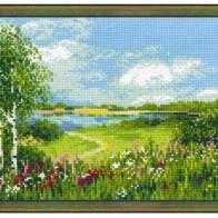 Купить Риолис Набор для вышивания крестом Тропинка к пруду 30 x 24 (1604) по низкой цене с доставкой из маркетплейса Беру