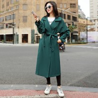 US $69.14 |2018 Autumn Winter New Fashion Brand Woman Classic Double Breasted Green Sash Trench Coat Business Casual Outerwear Oversize TR6-in Trench from Women
