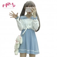 US $22.74 9% OFF|2019 Japanese Fashion Cute Princess Lolita Dress Women Soft Sister Sailor Collar Stitching Color Kawaii Halloween Mini Dresses-in Dresses from Women