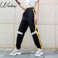 1509.46 руб. |Weekeep/черные брюки в стиле пэчворк женские свободные спортивные брюки с высокой талией 2018 Беговые брюки в повседневном стиле женские узкие брюки модные штаны в стиле хип хоп-in Штаны и капри from Женская одежда on Aliexpress.com | Alibaba Group