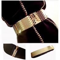731.59 руб. 40% СКИДКА|См 4,5 см Широкий Эластичный черный ремень женский золотой ремень металлический рыбья кожа Keeper брендовые ремни для женщин Cinto Feminino S/M/L BG 013 купить на AliExpress