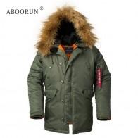3970.45 руб. 45% СКИДКА|Aboorun Для мужчин бомбардировщик куртки с меховой воротник Военная толщиной теплое пальто с капюшоном Для Мужчин