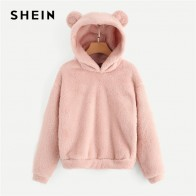 US $13.0 40% OFF|SHEIN Pink Preppy Lovely With Bears Ears Solid Teddy Hoodie Pullovers Sweatshirt Autumn Women Campus Casual Sweatshirts-in Hoodies & Sweatshirts from Women