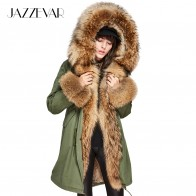 US $188.69 49% OFF|JAZZEVAR 2019 Women Luxury Large raccoon fur Collar Cuff Hooded Coat Detachable Rabbit Liner Parkas Outwear Long Winter Real Fur-in Real Fur from Women