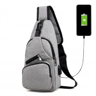 US $9.59 25% OFF|Male Leisure Sling Chest Pack Crossbody Bags for Men Messenger Canvas USB Charging Leather Men