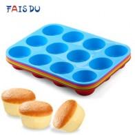 Мини-кексы, 12 отверстий, силиконовая круглая форма, кекс «сделай сам», печенья, Fondant, сковорода для выпечки, антипригарная форма для пудинга, ... - Принадлежности для выпечки