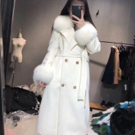 US $238.05 31% OFF|Spring and autumn real fox fur collar cashmere coat with Belt elegant slim long overcoat women wool coat-in Wool & Blends from Women