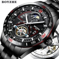 US $36.99 50% OFF|BOYZHE Men Automatic Mechanical Fashion Top Brand Sport Watches Tourbillon Moon Phase Stainless Steel Watch relogio masculino-in Mechanical Watches from Watches on Aliexpress.com | Alibaba Group