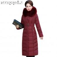 3486.56 руб. 35% СКИДКА|Осенне зимняя куртка для женщин среднего возраста X Long, плюс размер, толстый меховой воротник, зимнее пальто для женщин, парки с капюшоном, хлопковая верхняя одежда, L 5XL-in Парки from Женская одежда on Aliexpress.com | Alibaba Group