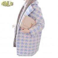 3805.08 руб. 53% СКИДКА|Европа последняя женская мода зимнее пальто большие размеры мелкая клетка шерсть средней длины пальто женское элегантное тонкое свободное шерстяное пальто G2084-in Шерсть и сочетания from Женская одежда on Aliexpress.com | Alibaba Group