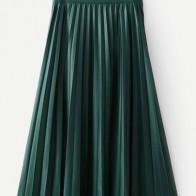 Плиссированная однотонная кожаная юбка