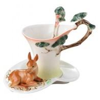2018 кофейные чашки с оленем с блюдцем чайная чашка для молока набор с ложкой креативная керамическая посуда для напитков костяной фарфор в е...