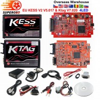 EU Red KESS V2 V5.017 V2.53 Master ktag V7.020 V2.25 4LED Manager turning kit No Token Reading Limited KESS V2.47 ECU programmer