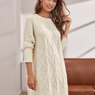Платье-свитер с рукавами реглан и разрезом
