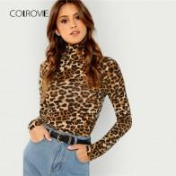 COLROVIE Леопардовый водолазка спецодежды женская футболка женская одежда 2019 Весна с длинным рукавом пикантные женские футболки купить на AliExpress
