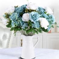 37148.47руб. 45% СКИДКА|100 шт. розы гроздья 11 Стебли/шт Искусственные букеты роз для свадьбы центральные украшения стола 3 вида цветов оптовая продажа-in Искусственные и сухие цветы from Дом и животные on AliExpress