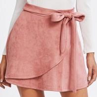 Модная замшевая юбка с поясом