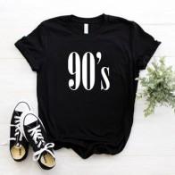 Женская хлопковая Футболка с буквами 90, повседневные забавные хипстерские футболки для женщин, Tumblr, 6 цветов, Прямая поставка CB-6 - Футболки