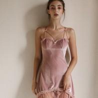 Feminine Underwear Skinny Short Mini Nightdress  Sexy Women Nightgown Gold Velvet Underwear Lingerie Lace Nightdress