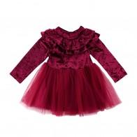 309.41 руб. 20% СКИДКА|Принцессы Детское платье для маленьких девочек с длинным рукавом бархата праздничное флисовое платье с рюшами платье пачка из тюля купить на AliExpress
