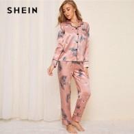 Женский пижамный комплект SHEIN, Розовый Атласный пижамный комплект с принтом журавль и листьев, Осеннее повседневное белье с карманом и коро...