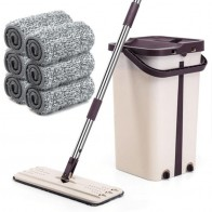 Multi-functional Flat Squeeze Mop Bucket Avoiding Hand Washing Microfiber Cleaning Cloth Kitchen Wooden Floor Mop