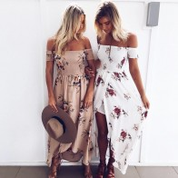 US $10.99 20% OFF|Women Boho Long Dress Summer Off Shoulder Beach Dresses Floral Print Vintage Asymmetrical Maxi Dress Vestidos De Festa-in Dresses from Women